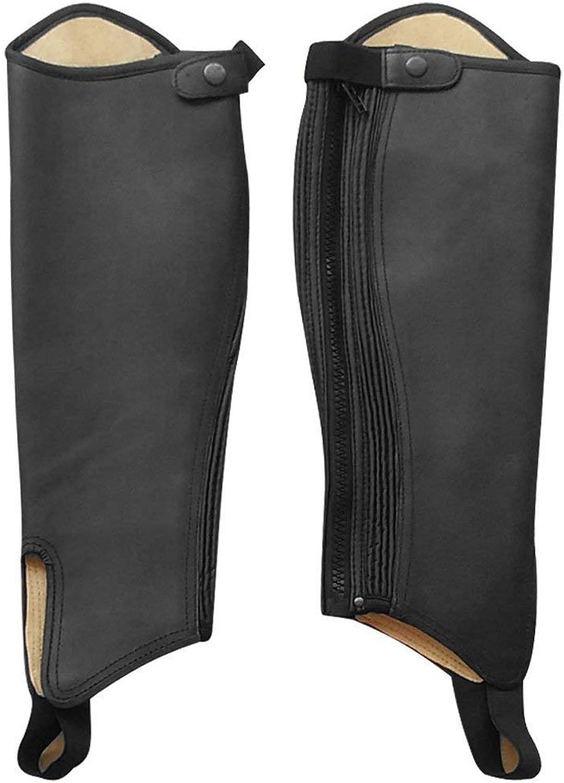 SDX Leather Half Chaps Inside Linning Amara Black Adults Horse Riding