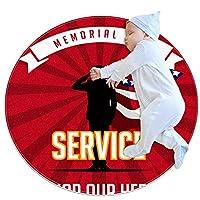 ソフトラウンドエリアラグ 70x70cm/27.6x27.6IN 滑り止めフロアサークルマット吸収性メモリースポンジスタンディングマット,戦没者追悼記念日ミリタリースーパーヒーローズサービス
