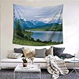 JKTOWN Nature Beach Tapestry Home Decor Tapestry 70x84 inch Belukha Mountain by The Lake Surrounded Mountain with Snowy Peaks Print Fern Green Light Blue