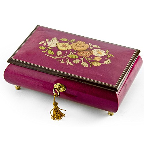 Beautiful 30 Note Red Wine Floral Inlay Musical Jewelry Box with Lock and Key- Many Songs to Choose - When You Wish Upon A Star