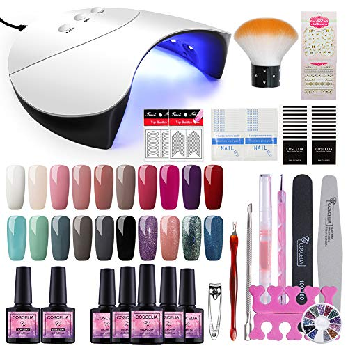 Saint-Acior 36W UV Lámpara LED Secador de Uñas 20PCS Esmalte Semipermanente Topcoat Base...