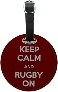 Graphics and More Keep Calm and Rugby on Sports Round Leather Luggage Id Tag Suitcase Carry-on, Black (Black) - Leather.TAG.Round.10037