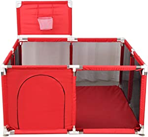 Dytiying Baby Playpen Infant Playard Tents Safety Household Protective Fence Activity Center with Basketball Frame  Red
