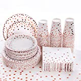 201PCS Disposable Plates Rose Gold Party Supplies, Rose Golden Polka Dots Birthday and Baptism Decorations, include Plates and Cups, Napkins, Plastic Tablecloth, for Baby Shower Wedding