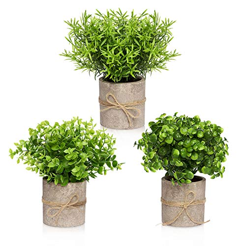 Artificial Plants in Pots for Home Decor Indoor - Office Decor for Women Desk, Desk Plant - Faux Plants Decor Indoor for Office Desk Decor - Set of 3 Faux Desk Plants for Office & Bathroom, Desk Plant