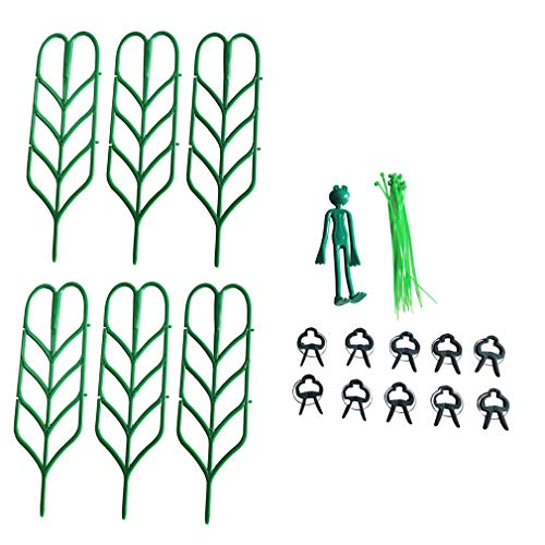 27PCS Plant Trellis Bundle Pack Kit with 6PCS Leaf Shape Supports+10PCS Clips+10PCS Twist Ties+Frog Clip for Indoor Plant Trellis Stakes Flowers Vines Potted Support Climbing Plants(6PCS Kit)