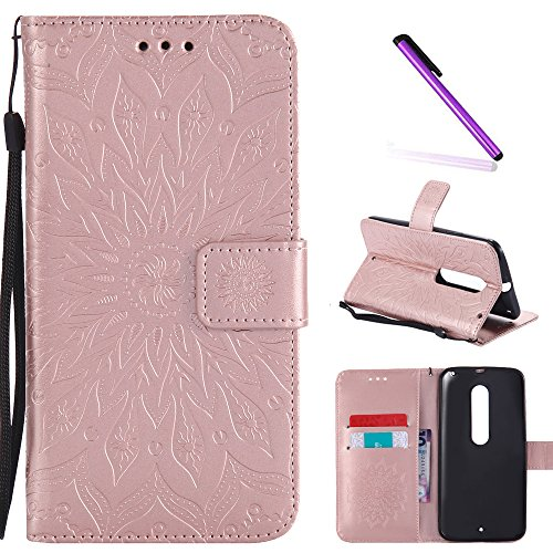 Moto X Style Case,Motorola Moto X Pure Edition Case,LEECOCO Embossed Floral Pattern Wallet Case with Card/Cash Slots PU Leather Flip Stand Case for Motorola Moto X Style Mandala Rose Gold