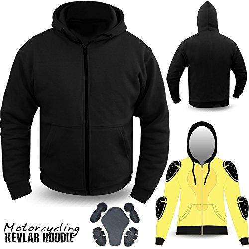 DBX Motorcycle Hoodie Hoody Full Kevlar Armoured Lined Fleece Ultimate Protection (2XL)