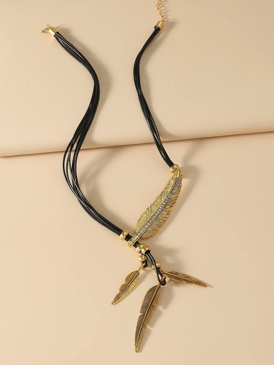 LND Gifts Necklace Pendant Feather Charm Y-Lariat Necklace Necklace (Color : Black)