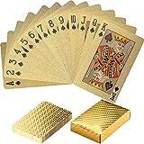 Maxstore Design Plastic Poker Cartas 100% Impermeable Juego de Mesa de Naipes de plástico Resistente a Las lágrimas, Cubierta Color Puro Oro
