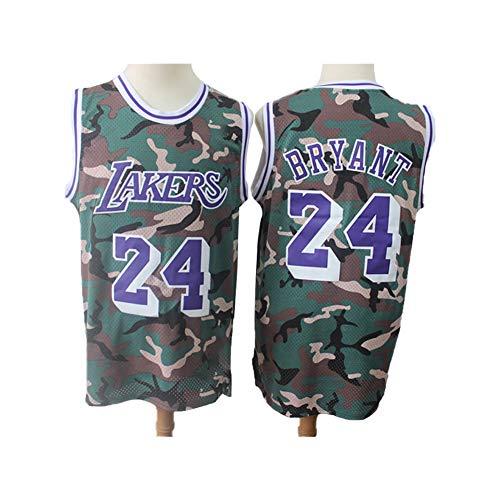 Herren Basketball Uniform Los Angeles Lakers Kobe # 24 Trikot, Unisex Ärmelloses T-Shirt Camouflage Mesh Atmungsaktives Basketball Swingman Trikot-XL