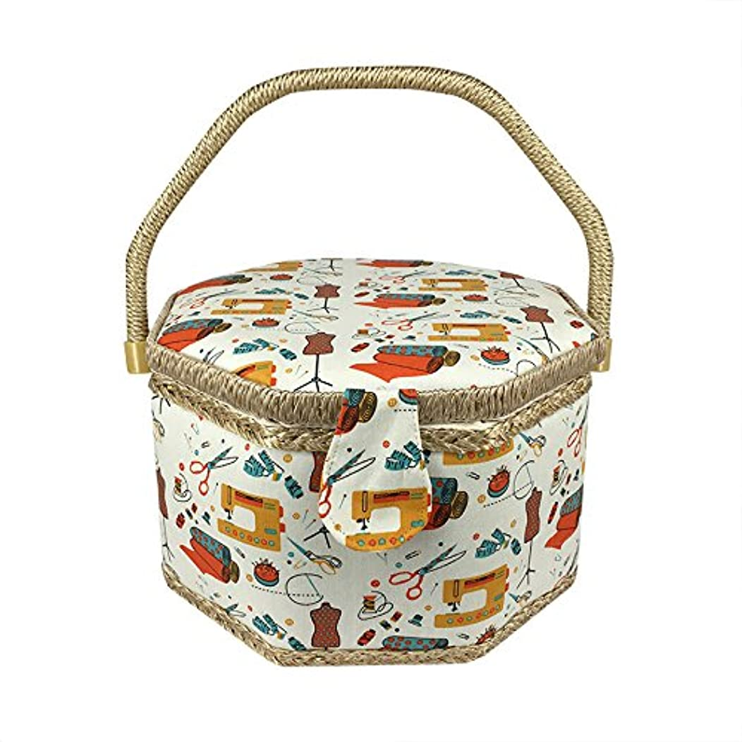 SAXTX Octagon Wooden Sewing Baskets with Compartments|Large Sewing Box for Storage Sewing Supplies|Cosmetic Organizer|Birthday Gift Boxes for Women