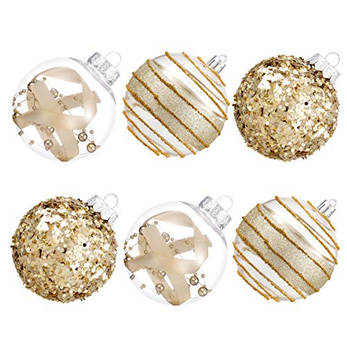 80mm/3.15' Shatterproof Clear Plastic Christmas Ball Ornaments Decorative Xmas Balls Baubles Set with Stuffed Delicate Decorations (6Counts, Champagne)
