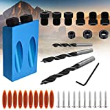 Pocket Hole Screw Jig,15 Degree Dowel Drill Joinery Kit, 6/8/10mm Drive Adapter for Woodworking Angle Drilling Holes, Carpenters Woodwork Guides Joint Angle Carpentry Locator(34PCS)