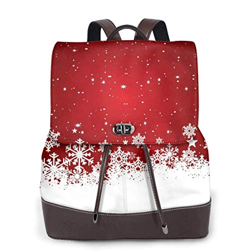 Yuanmeiju Womens Fashion Backpack White Snowflake Shoulder Schoolbag Leather Casual Bag Ladies