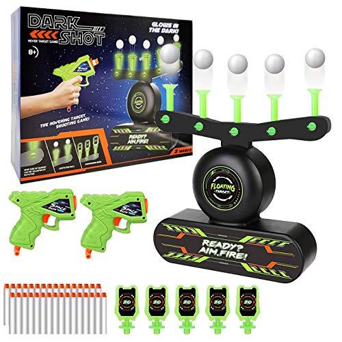Elektrische Hover Zielscheibe für Nerf Pistole, Schwimmendes Ball Ziel mit 2 Blaster, 10 Schaumball, 30 Munition, 5 Schießtafeln, Soundeffeck, USB aufladbar, Kinder Spielzeug Geschenk 5-15 Jahre Junge