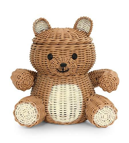 G6 COLLECTION Bear Rattan Storage Basket With Lid Decorative Bin Home Decor Hand Woven Shelf Organizer Cute Handmade Handcrafted Nursery Gift Decoration Animal Wicker Bear Brown Bear