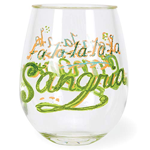 C.R. Gibson ''Fa La La La La Sangria'' Christmas Acrylic Stemless Wine Glass, 12 oz
