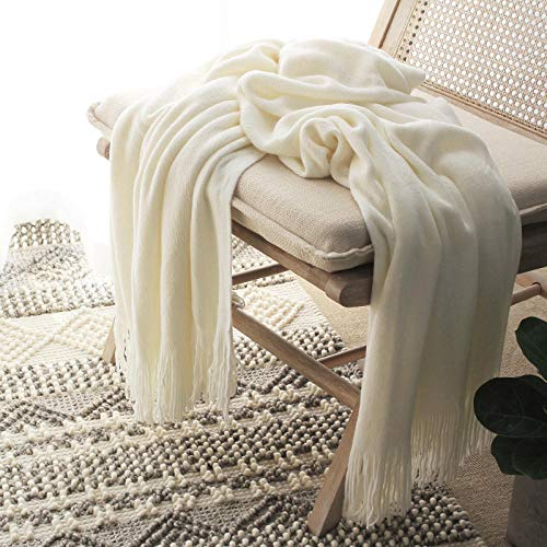 Amosiwallart Mantas para Sofa, Mantas para Cama de Franela Reversible, Mantas Ligeras de 100% Microfibra - Fácil De Limpiar - Extra Suave Cálido -lechoso_El 127cmx220cm