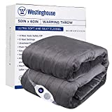 Westinghouse Electric Blanket Heated Throw Soft Silky Microplush Flannel Heating Blanket 50'x60', 6 Heat Settings & 4 Hours Auto Off, Machine Washable, Charcoal Grey 50x60in