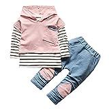 Baby Jungen Mädchen Outfits Bekleidung Set,TTLOVE Herbst Winter Babykleidung Baby Hoodie Streifen T-Shirt Tops Mit Kapuze Sweatshirt + Hosen Kleidung Set(Rosa,80 cm)