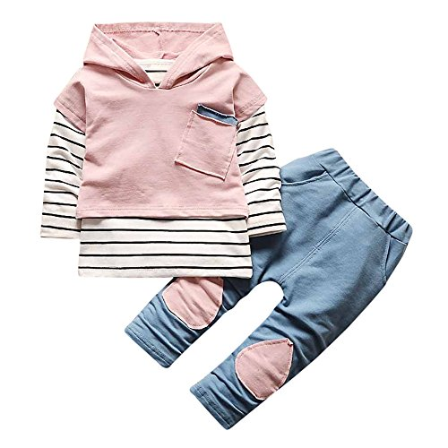 XXYsm XXYsm Baby Kapuzenpullover Outfits Hoodie Mädchen Jungen Sweatshirt Mit Kapuze + Hosen Unisex Set Streifen Print Blusen Rosa 6-12 Monate