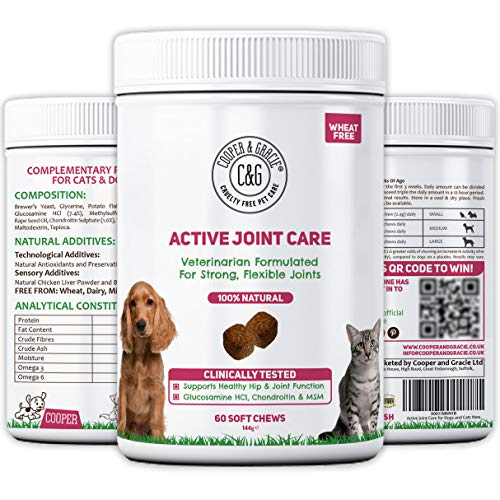 C&G Pets | ACTIVE HIP AND JOINT CARE FOR DOGS 60 CHEWABLE TABLETS | SUPPORTS STRONG HIPS AND JOINTS | 100% NATURAL VITAMINS AND MINERALS | GLUCOSAMINE AND MSM | VETERINARIAN FORMULATED