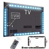 LED TV Retroilluminazione, AUA 3M Striscia LED RGB USB Impermeabile 5050 Retroilluminazione TV LED - 2x50cm+2x100cm con 44 tasti Telecomando IR, per HDTV da 46-70 Pollici, PC Monitor ecc
