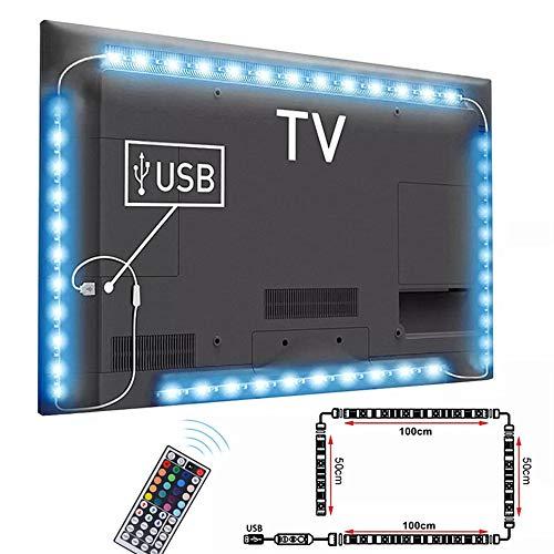 Tira LED TV 3M, AUA 5050 Tiras LED USB Impermeable con IR Control Remoto para HDTV/PC Monitor (46-70 Pulgada) - 2x50cm+2x100cm Kit Iluminación de fondo de TV, 20 Colores y 4 Modos, para Cine en Casa