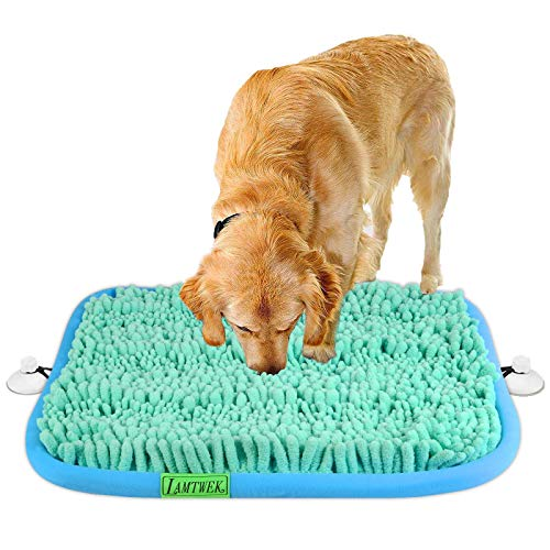 """LAMTWEK (17"""" x 21"""" Schnüffelteppich Hunde Intelligenzspielzeug Waschbar Riechen rutschfest Hundespielzeug Schnüffelspielzeug(Mit 2 Stück Saugnapf)"""