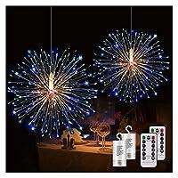シャンデリア スターバーストライトをぶら下げ、240個のLEDストリングライト花火銅ライト8モード調光ストリングライト、2個 装飾 (Emitting Color : 2pcs Multicolor)