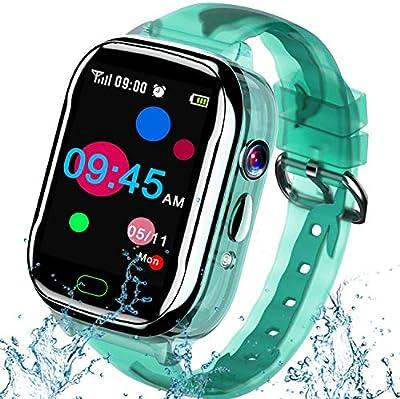 "iGeeKid Kids Smart Watch Phone-IP67 Waterproof Smartwatch Boys Girls Toddler Digital Wrist Watch 1.44"" Full Touch Calls,Camera,Gizmos Games,Alarm,12/24 Hr Learning Toys Easter Basket Stuffers (Green) from iGeeKid"