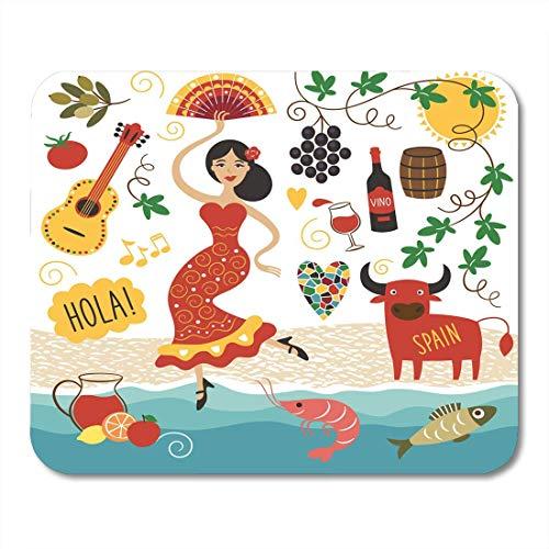 Mauspads Reisen Rot Spanisch Spanien Sehenswürdigkeiten und Symbole Lebensmittel Barcelona Mauspad für Notebooks, Desktop-Computer Matten Büromaterial