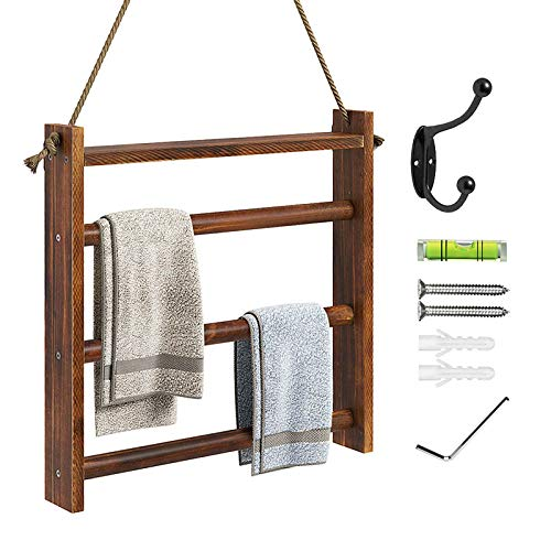 Greenstell Toallero para colgar en la pared, toallero para colgar en la pared, con cuerda y kits para colgar, soporte decorativo de madera rústica para baño, sala de estar y guardarropa, color marrón
