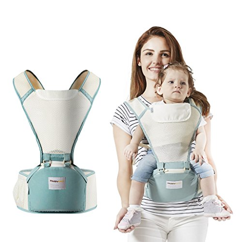 Babytrage Kindertrage mit Hüfte Sitz Ergonomische Atmungsaktiv Rucksack Tragen 4 Stellung 3-36 Monate,Grün