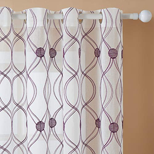 Top Finel White Sheer Curtains 72 Inches Long Purple Trellis Embroidered Grommet Moroccan Window Curtains for Living Room Bedroom, 2 Panels