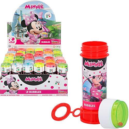 ColorBaby - Caja 36 pomperos, pompero Minnie, 60 ml, pomperos para niños, regalos cumpleaños niños, minnie mouse, decoración cumpleaños minnie, infantil, juguete burbujas jabón