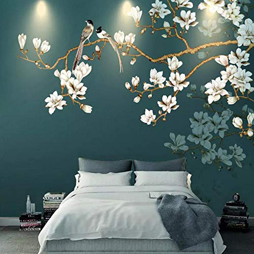 Lllyzz handdoek, van zijde, personaliseerbaar, geschikt voor elke grootte van de muurschildering, waterbestendig, van canvas, motief Chinese bloemen en vogels