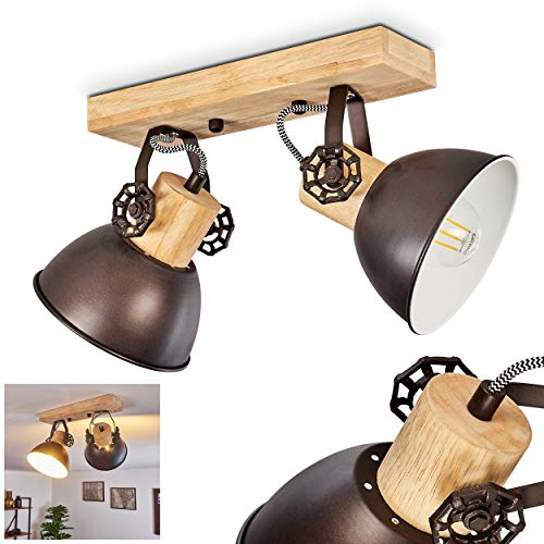 Lámpara de techo Orny, orientable metal/madera antracita/blanco/marrón, 2 llamas, 2 tomas E27 máx. 60 W, estilo retro/vintage, adecuado para bombillas LED