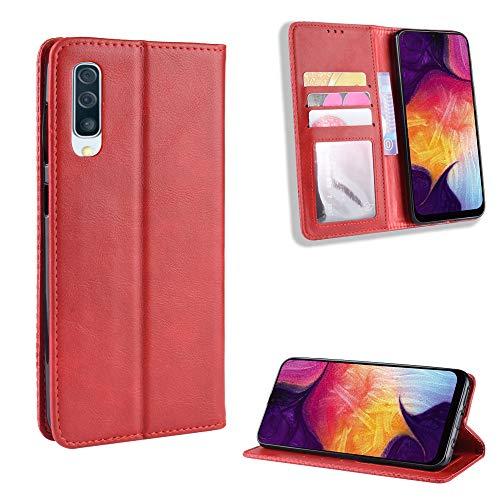 LODROC Galaxy A50 / A50S / A30S Hülle, TPU Lederhülle Magnetische Schutzhülle [Kartenfach] [Standfunktion], Stoßfeste Tasche Kompatibel für Samsung Galaxy A50 - LOBYU0100145 Rot