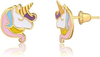 18k Hypoallergenic Yellow Gold Enamel Unicorn Push Backs Stud Earrings for Girls, Children, Infants, and Teens
