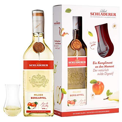Schladerer Milder Bergapfel, feiner Digestif aus dem Schwarzwald - mild und fruchtig-frisch dank Äpfeln aus Höhenlagen - Set inklusive Schladerer Glas mit Gravur Obstbrände (1 x 700 ml)
