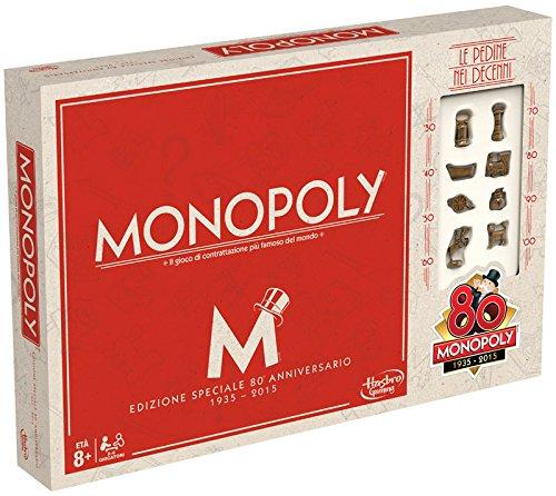 Hasbro Gaming - Monopoly 80 Aniversario, Juego de Mesa (versión en Italiano)