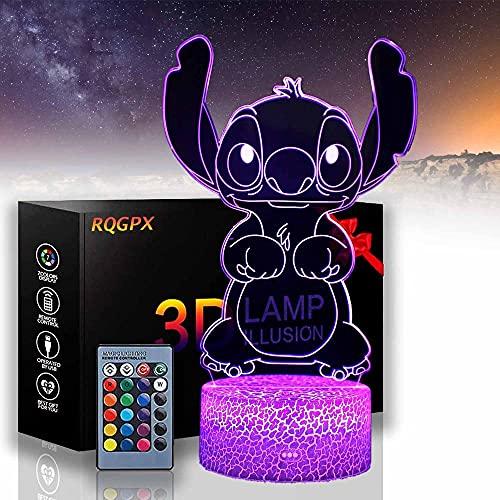 Lilo & Stitch - Lámpara de noche para niños con ilusión óptica 3D, 16 colores, cambio automático, decoración de escritorio, regalo de cumpleaños con mando a distancia
