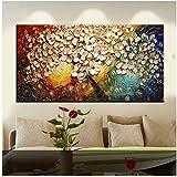 XIANGPEIFBH Quadro su Tela Pittura a Tavolozza Albero 3D Fiori Dipinti Stampa Soggiorno casa Decor Decorazioni da Parete -60x120 cm Senza Cornice