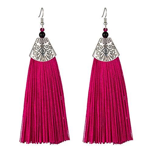 Tassel Earrings Bohemian Long Exaggerated Earrings For Women Brush Drop Earrings Jewelry Pendientes-Rose Red-one size