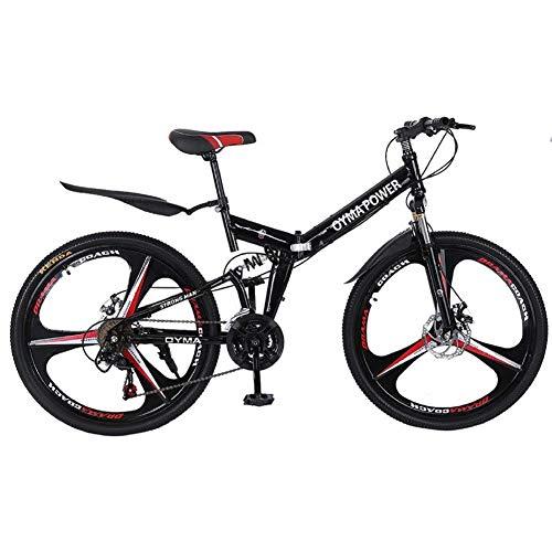 MOME Bicicleta de montaña plegable de acero de alto carbono de 26 pulgadas, freno de disco mecánico, freno de aluminio duro nunca se oxida, más ligero que el acero, fácil de acelerar y operar