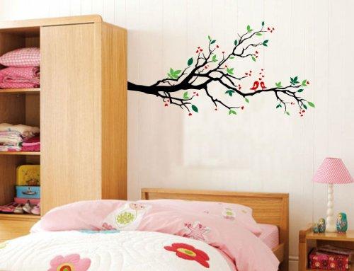 Adesivo de vinil de pássaros de amor de parede de galhos de árvores, folhas de berçário, 142 cm de largura x 71 cm de altura, Multi Color, Left to Right