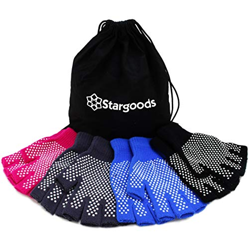 Stargoods Grip Yoga Gloves - Pack of 4 Non slip pairs on Black, Grey, Pink and Blue colors