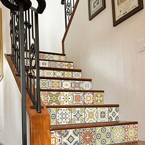 RENZHAO Treppenaufkleber 13 Stück Bunte arabische Fliesen Aufkleber für Selbstklebende PVC treppe tapete DIY Dekoration kunstwand decal18 * 100 cm c
